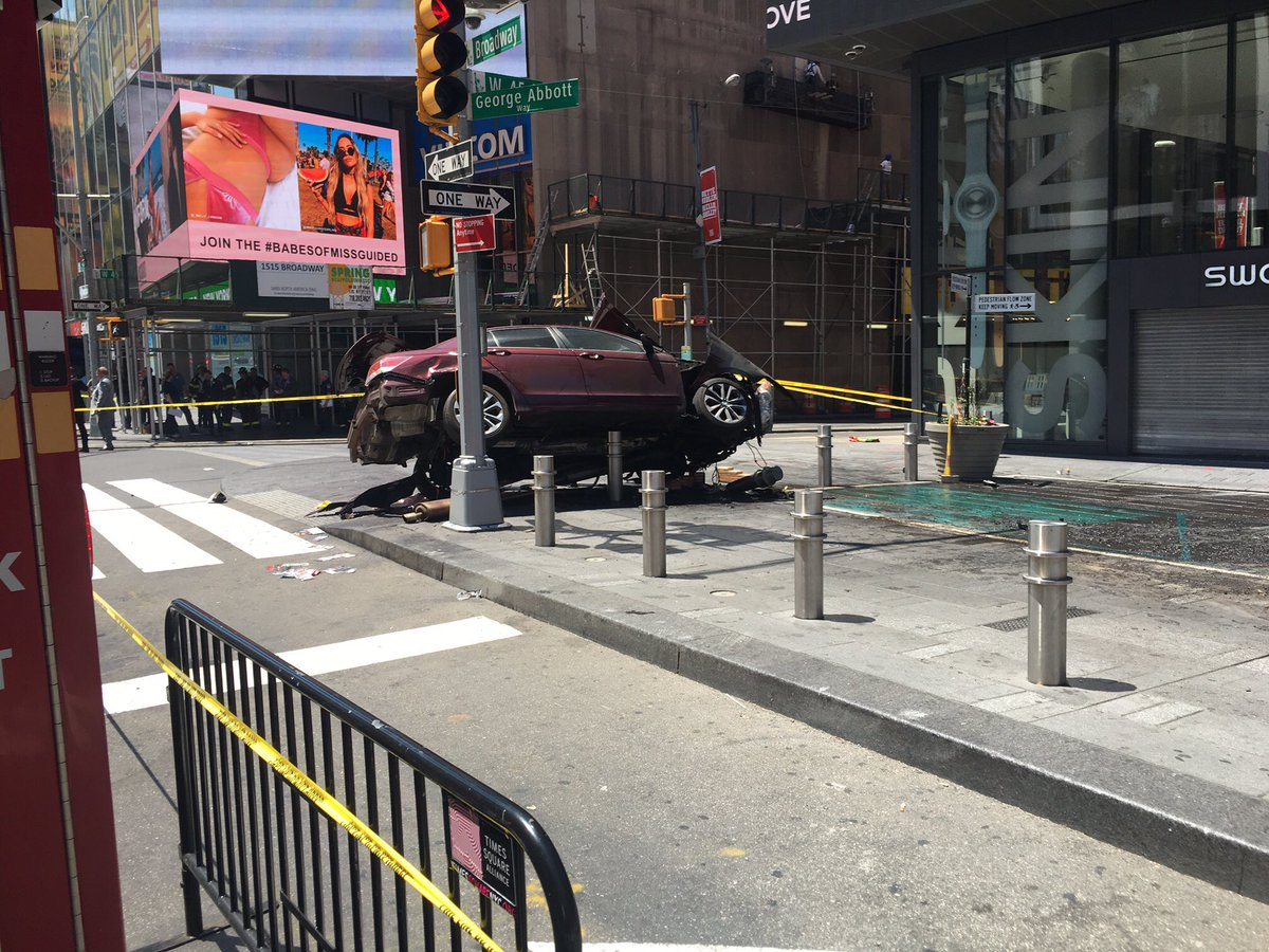 Vehicle speeds onto NYC's Times Square sidewalk, hitting people Thursday, May 18, 2017. (FDNY Twitter)