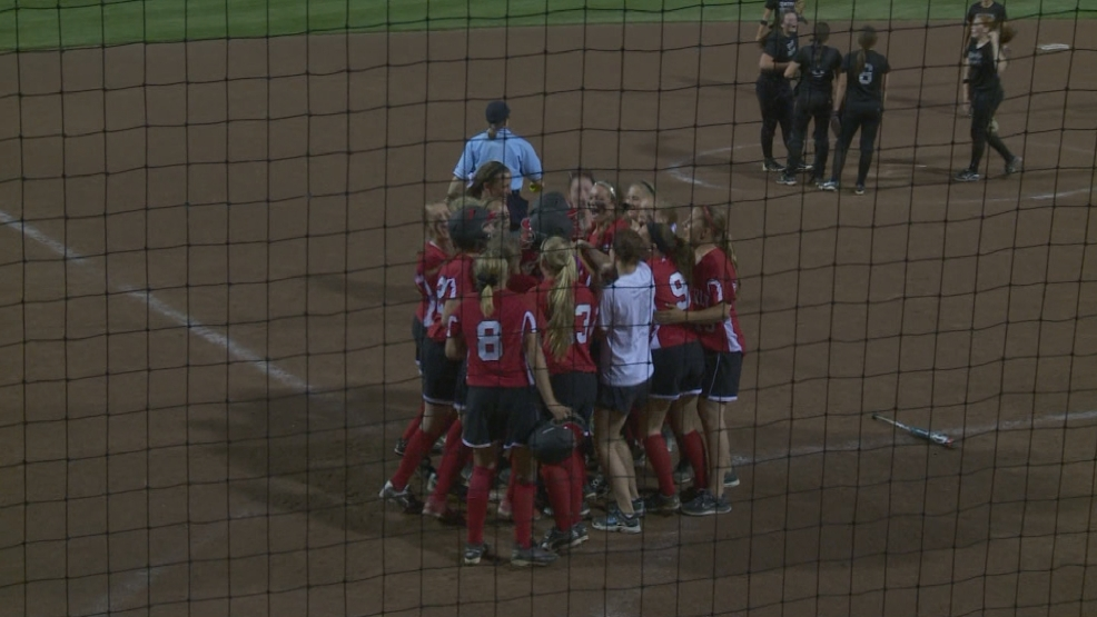 Kimberly celebrates at home plate.