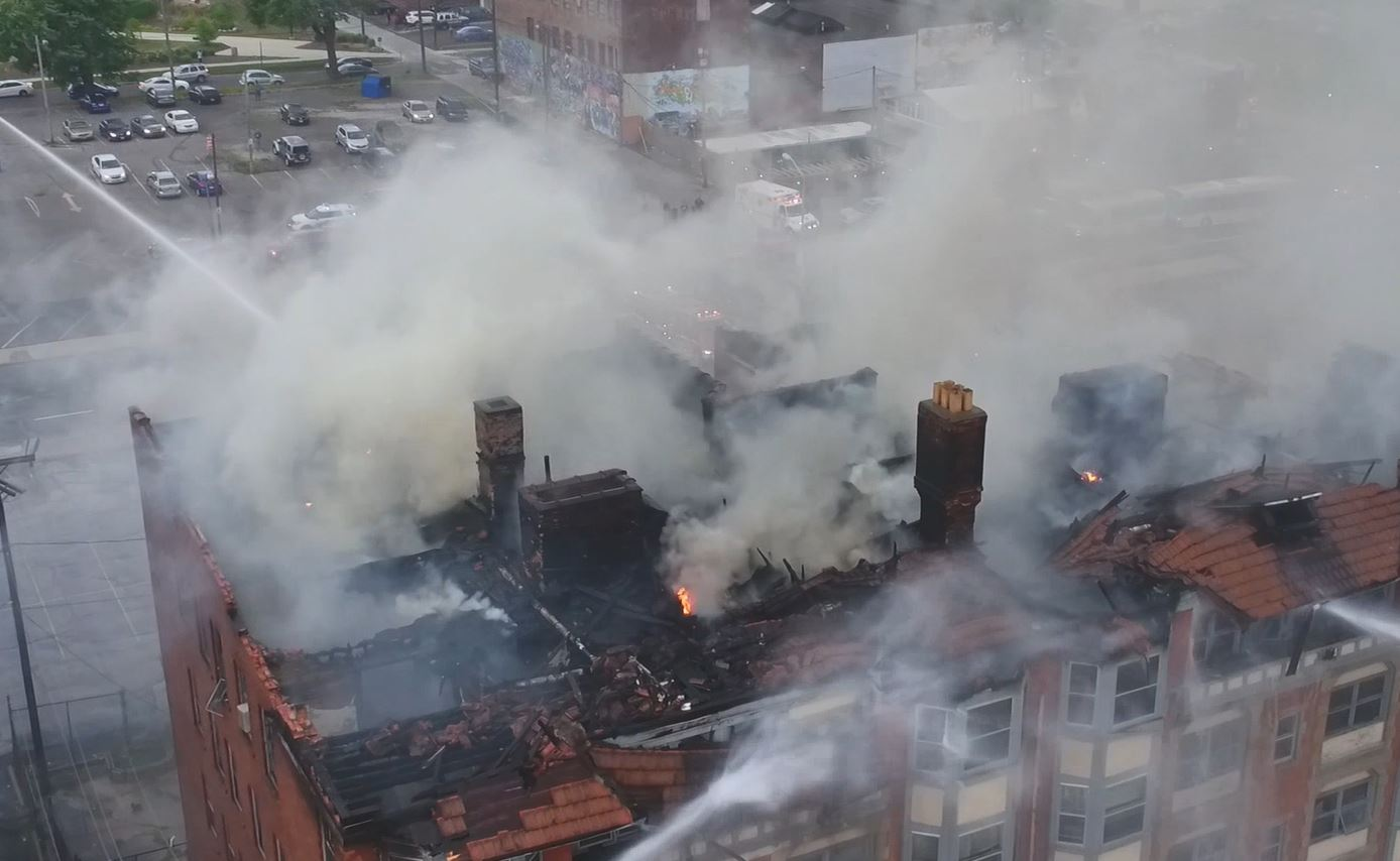 The historic Wachter Building in UpTown Toledo went up in flames Tuesday, displacing 21 residents.