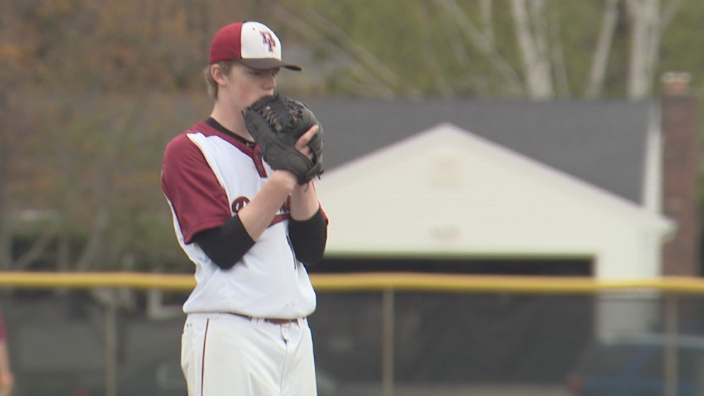 Connor Rutherford of De Pere prepares to throw a pitch against Notre Dame.