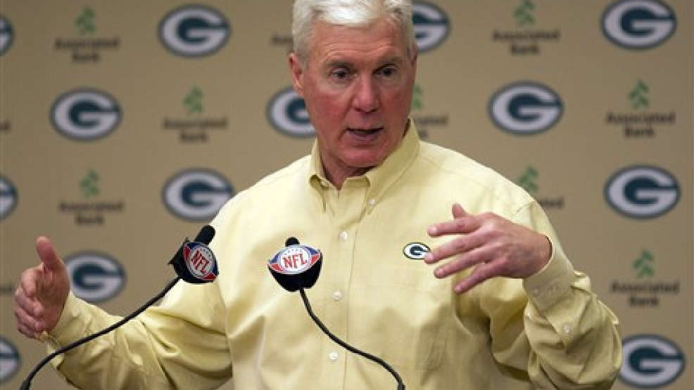 Green Bay Packers general manager Ted Thompson talks about the team's first round draft choice Bryan Bulaga during an NFL Draft event at Lambeau Field Thursday, April 22, 2010, in Green Bay, Wis. (AP Photo/Morry Gash)