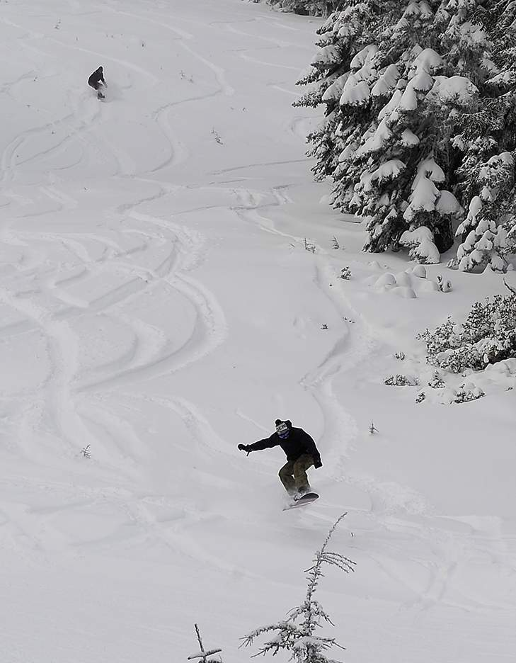 Mt Ashland season opening Friday morning spinning two chair lifts with fresh powder and groomed runs. - Andy Atkinson