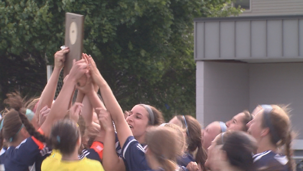 Xavier celebrates their sectional soccer title.