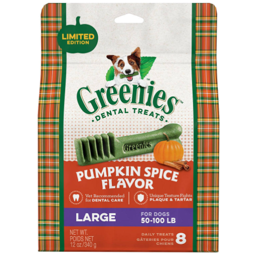 Greenie's Large Dental Dog Treat Pumpkin Spice, $11.69 (Image courtesy of Greenies){&amp;nbsp;}<p></p>