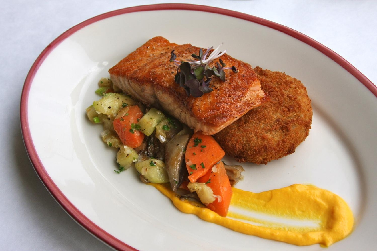 Salmon: truffle beurre rouge, potato croquette, vegetable medley, and mushroom / Image: Molly Paz // Published: 3.1.17