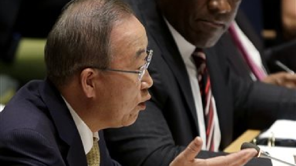 While United Nations General Assembly President John Ashe, right, watches, U.N. Secretary-General Ban Ki-moon speaks during an informal meeting of the General Assembly on the conflict in Gaza at U.N. headquarters, Wednesday, Aug. 6, 2014. (AP Photo/Seth Wenig)