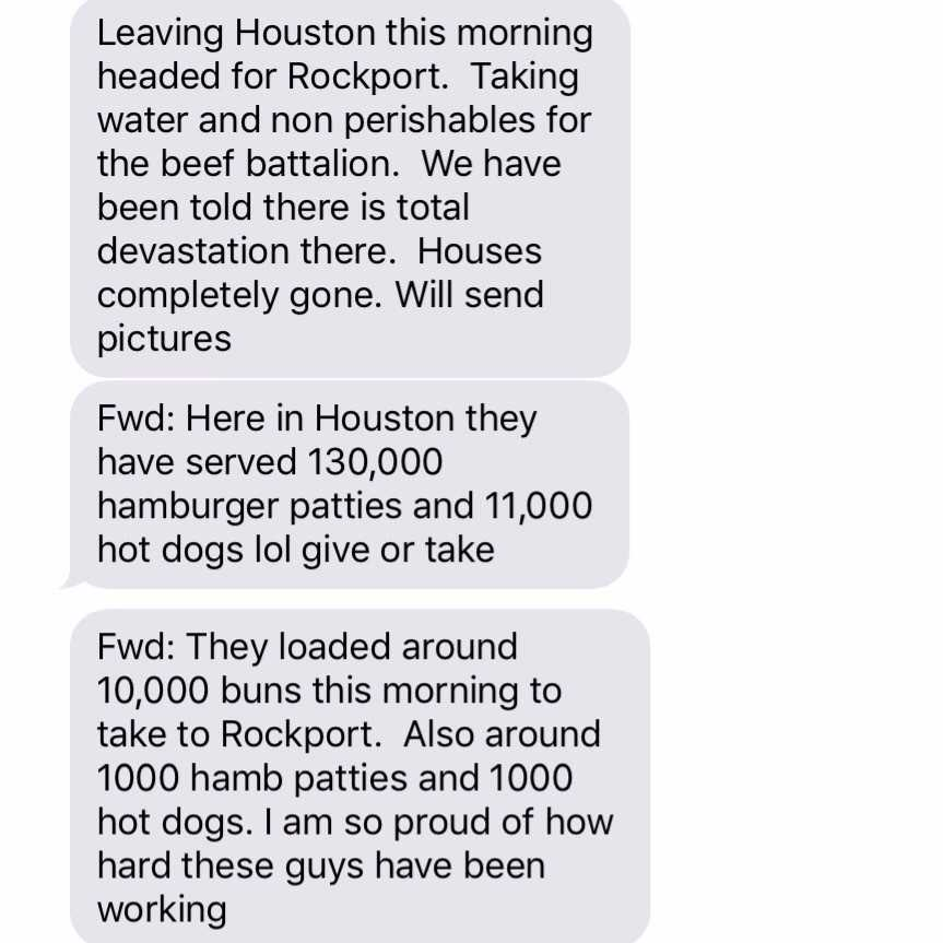 This is a text message update about what was happening at the time in Texas.
