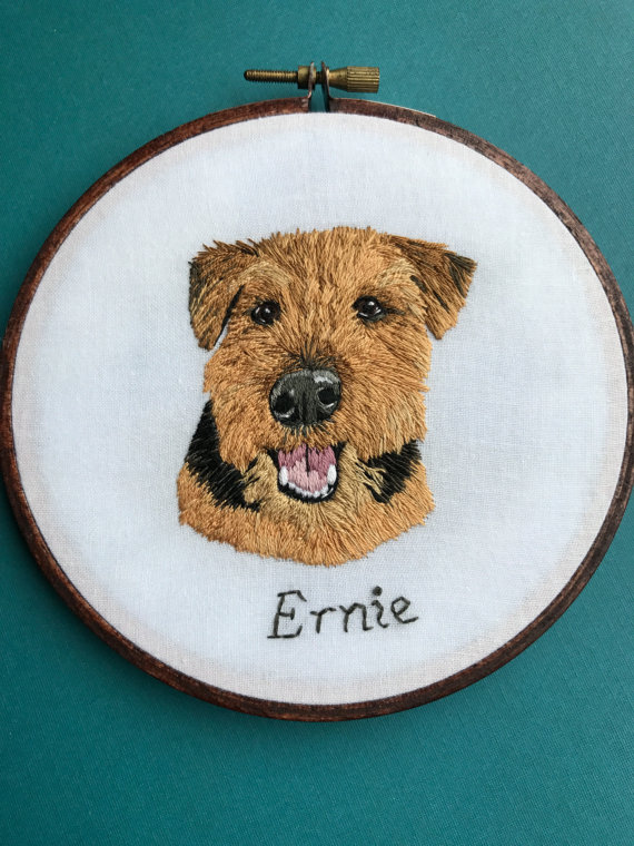 <p>Your pet is your fur baby and what better way to show your love than a personalized, hand embroidered pet portrait.{&amp;nbsp;} Each portrait is hand drawn from submitted photos and stitched by hand on 100% cotton fabric with cotton thread. The hoops are hand stained and sealed. Find out more on Etsy at{&amp;nbsp;}the HoffeltAndHooperCo shop. (Image: HoffeltAndHooperCo)</p>