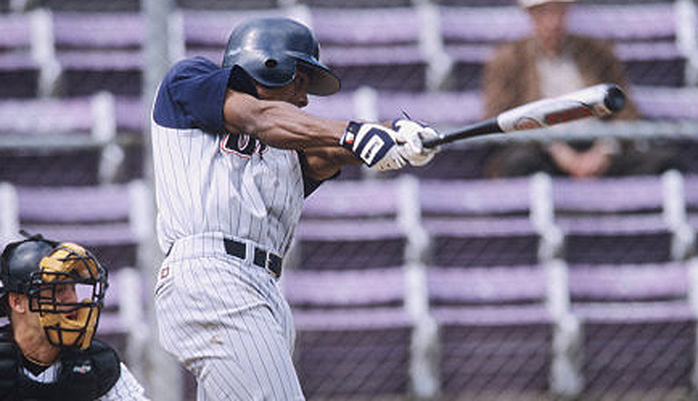 Curtis Granderson set UIC single-season records in batting average (.483), hits (100) and runs (78) as a junior in 2002. (Courtesy UIC Flames Athletics)