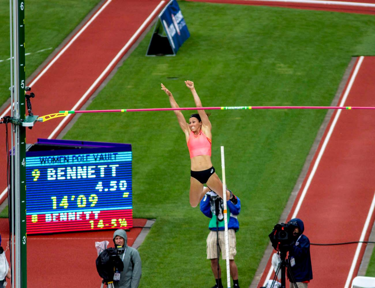 ASICS� April Bennett smiles after clearing the bar in the Women�s Pole Vault. Bennett finished 10th after clearing 4.50m. Day 10 of the U.S. Track and Field Trials concluded Sunday at Hayward Field in Eugene, Ore. The competition lasted July 1 through July 10. Photo by Amanda Butt