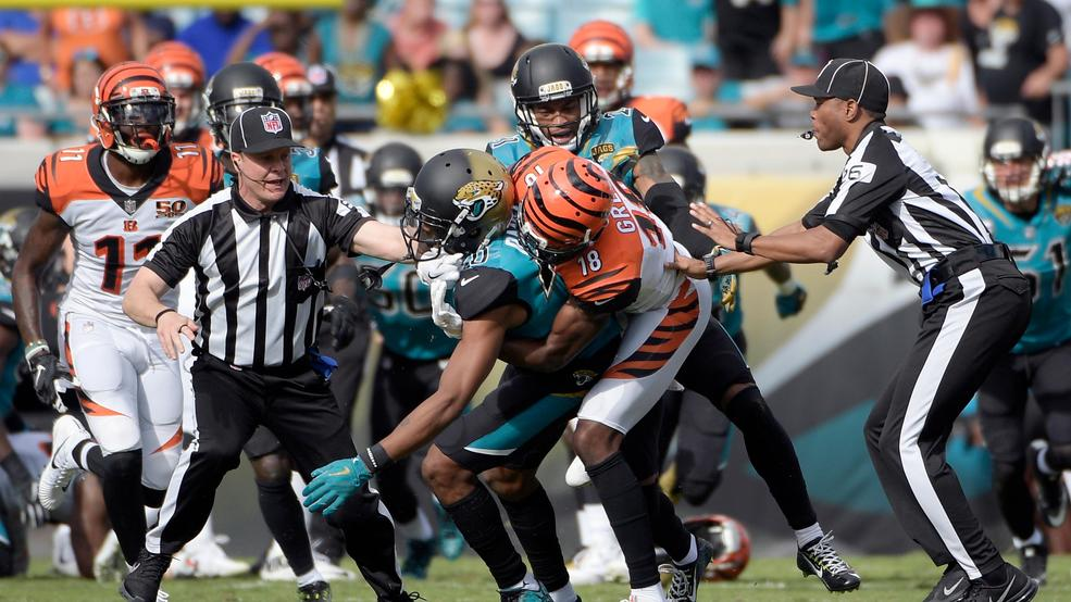 5, 2017, File Photo, Cincinnati Bengals Wide Receiver A.J. Green (18) Takes  Down Jacksonville Jaguars Cornerback Jalen Ramsey (20) During A Fight In  The ...
