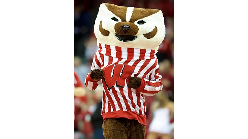 On Feb. 20, 2011, University of Wisconsin-Madison mascot Bucky Badger takes to the court at the Kohl Center before the start of a men's basketball game against Penn State. (Photo by Bryce Richter / UW-Madison)