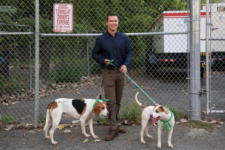 Ryan is a 25-year-old analyst living in Arlington who enjoys being outdoorsy.  // Cinnamon is a 7-month-old Shepherd mix  who is available for adoption from Lucky Dog Animal Rescue.// Marina is a 3-year-old hound mix who would prefer to go to a home, not an apartment. She is available for adoption through Lucky Dog Animal Rescue. (Amanda-Andrade-Rhoade/DC Refined)