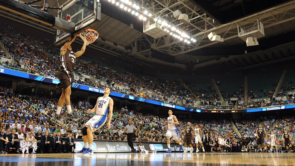 Lehigh's C.J. McCollum dunks against Duke during the second round of the NCAA Men's Basketball Tournament at Greensboro Coliseum on March 16, 2012, in Greensboro, N.C. Lehigh defeated Duke 75-70. (Photo by Lance King/Getty Images)