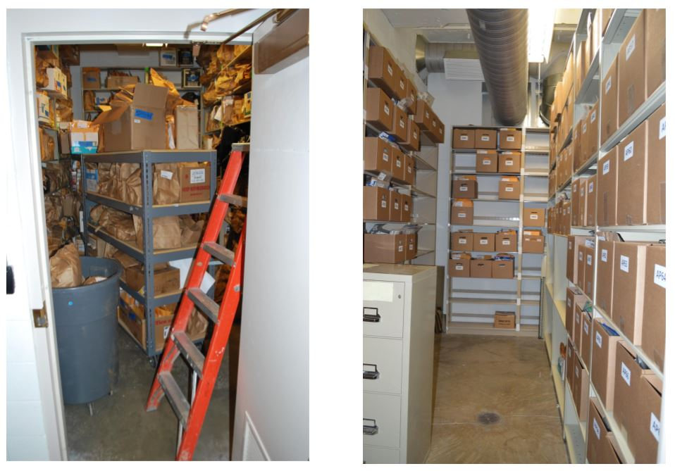 This is the APD small storage room then versus now (Photo credit: Asheville Police))<p></p>