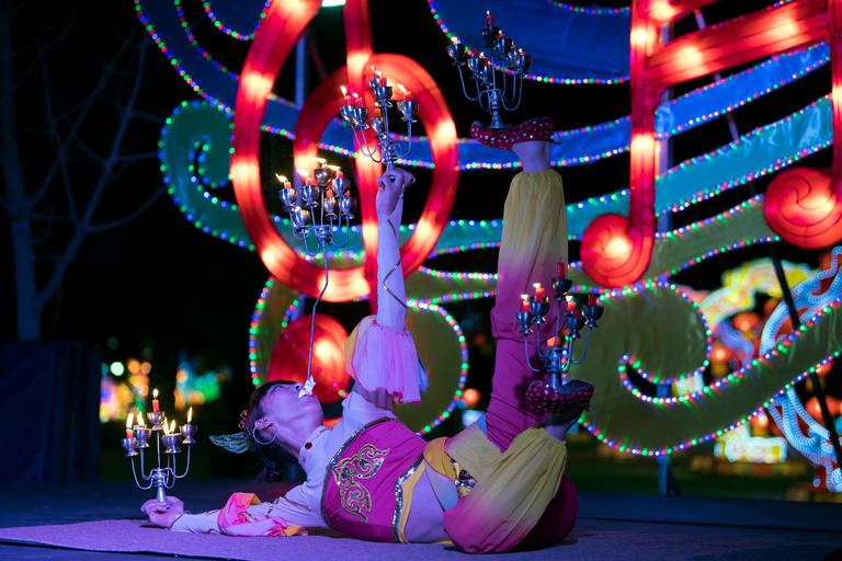A contortionist performs on the opening night of the China Lights lantern festival Friday, January 19, 2018, at Craig Ranch Regional Park in North Las Vegas. The festival, which features nearly 50 silk and LED light displays comprised of over 1000 elements, runs through February 25th. CREDIT: Sam Morris/Las Vegas News Bureau