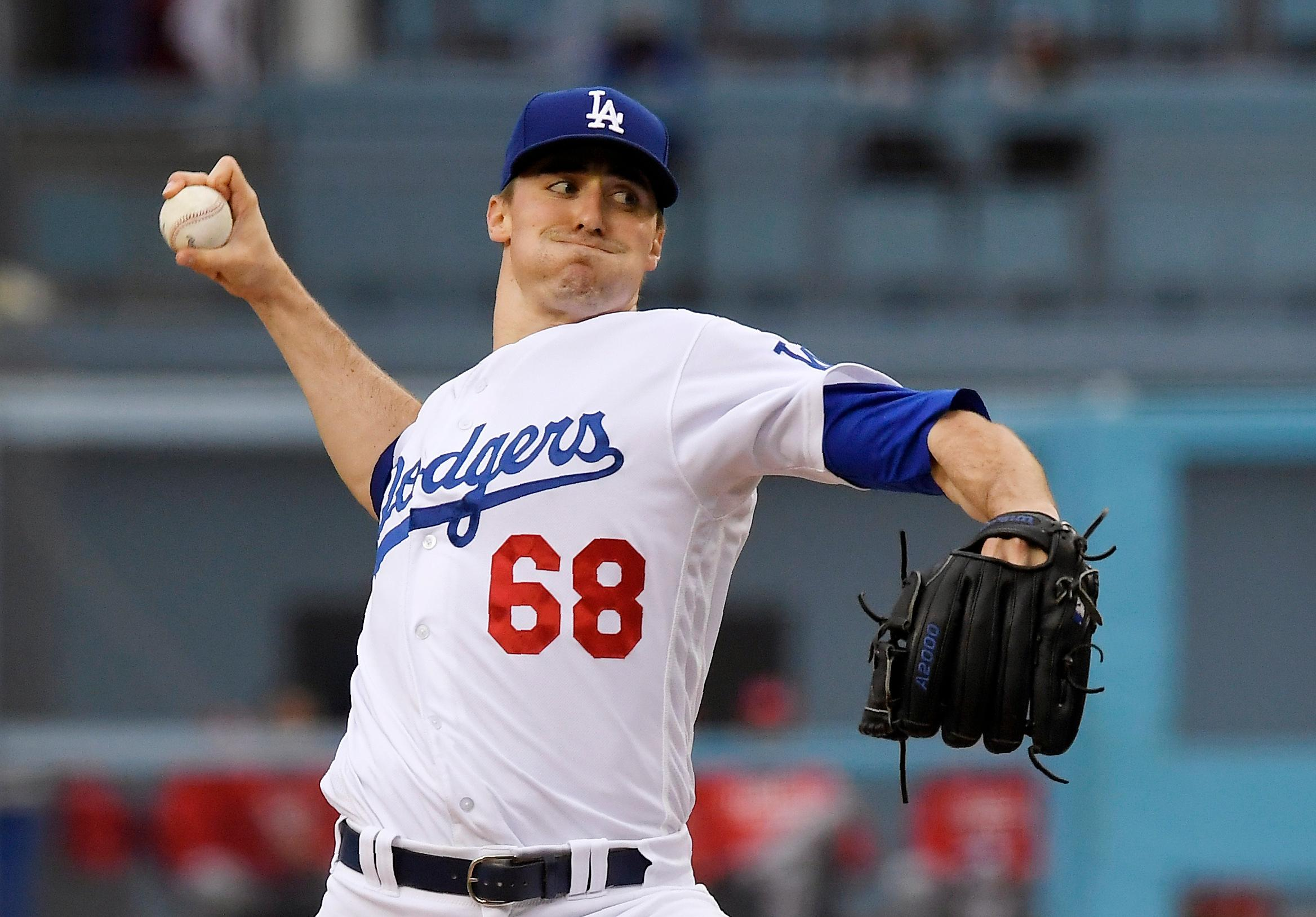Los Angeles Dodgers pitcher Ross Stripling throws during the first inning of a baseball game against the Cincinnati Reds on Saturday, May 12, 2018, in Los Angeles. (AP Photo/Mark J. Terrill)