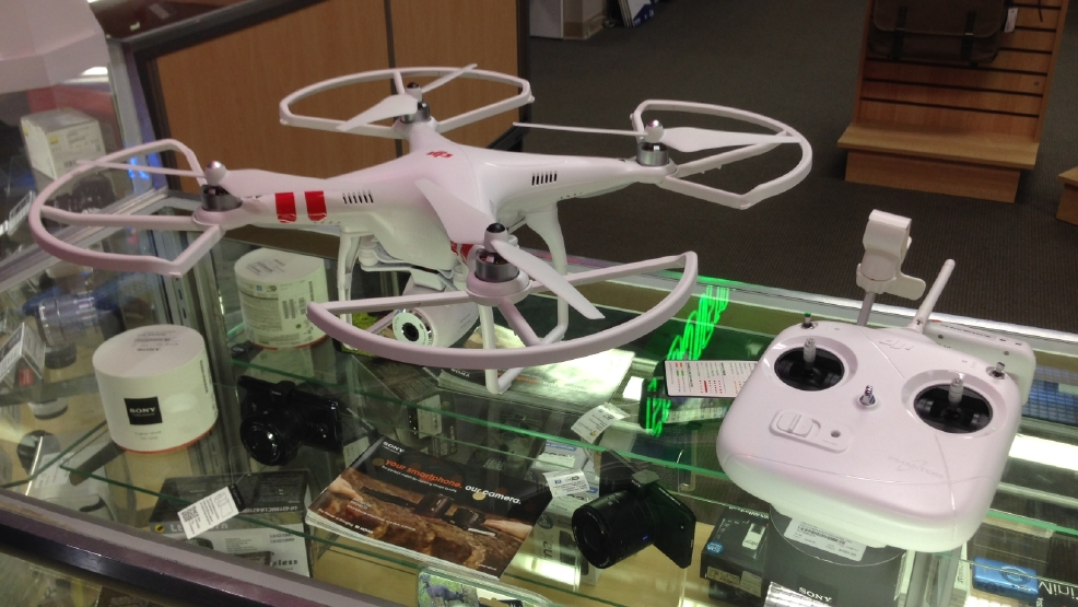 A drone is on display at Camera Corner in Green Bay on Wed, Apr. 9, 2014. (WLUK/Andrew LaCombe)
