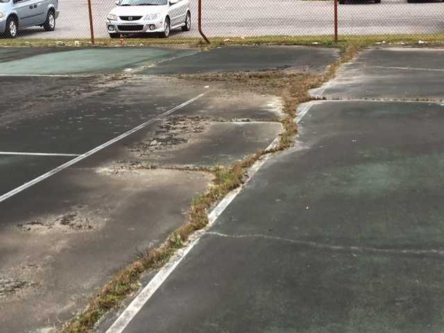 The Hixson High School Tennis Court shows crack in the concrete. Hamilton County schools plans to fix this and the school track as part of the 100-million dollar spending plan. (IMAGE: WTVC){&amp;nbsp;}<p></p>