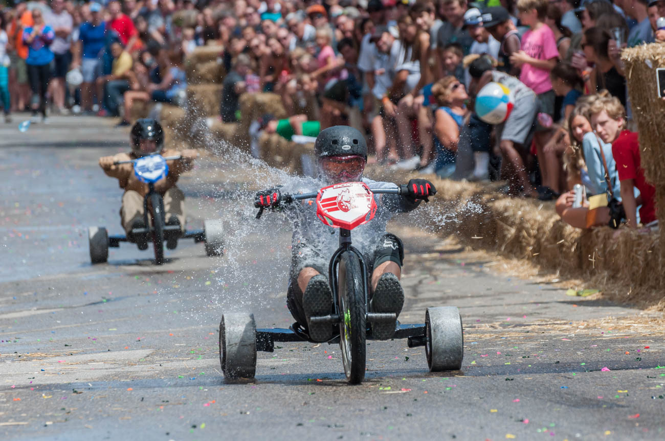 Danger Wheel 2018 took place on Saturday, July 28 in the neighborhood of Pendleton. The adult downhill big wheel racing event featured 64 teams competing throughout the day. / Image: Mike Menke // Published: 7.29.18