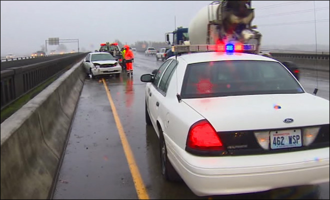 66 -- Number of crashes reported in King County by the Washington State Patrol Monday. That was just through 4 p.m., and only includes freeways and highways in their jurisdiction. That doesn't include city streets. (Pierce/Thurston County WSP reported 20 crashes)