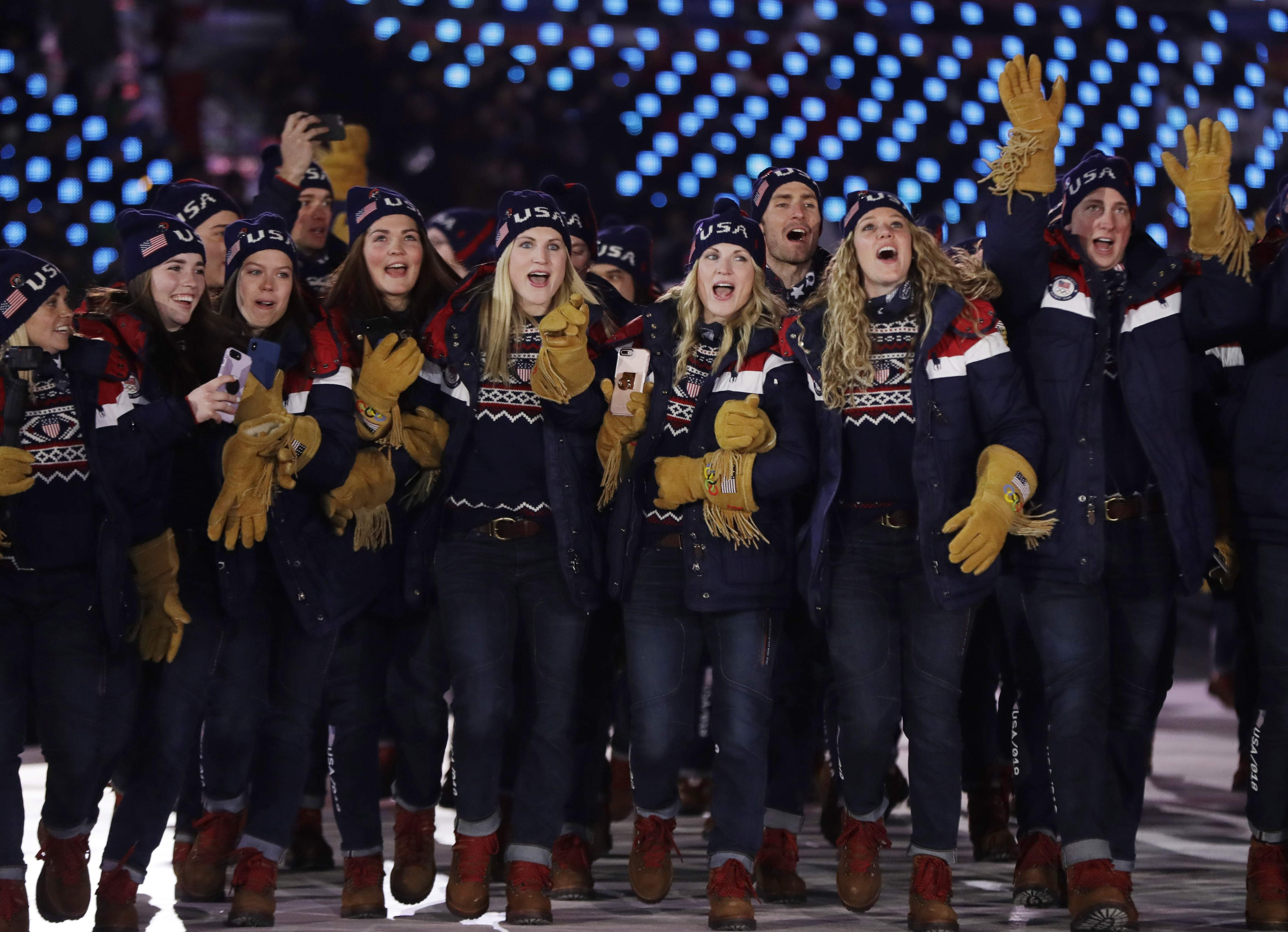 Members of the United States team arrives during the opening ceremony of the 2018 Winter Olympics in Pyeongchang, South Korea, Friday, Feb. 9, 2018. (AP Photo/Petr David Josek)