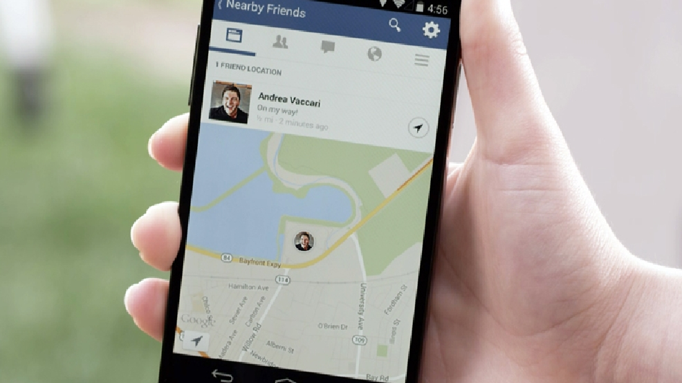 "This product image provided by Facebook shows the ""Nearby Friends"" tool. Using your smartphone's GPS system, it will tell your Facebook friends _ provided they have the feature turned on _ that you are nearby. Rather than share your exact location, though, it will only show that you are in close proximity, say within half a mile. Then, if you want, you can manually share your exact location with a friend you'd like to meet up with, so they can see where you are located in a particular park, airport or city block. (AP Photo/Facebook)"