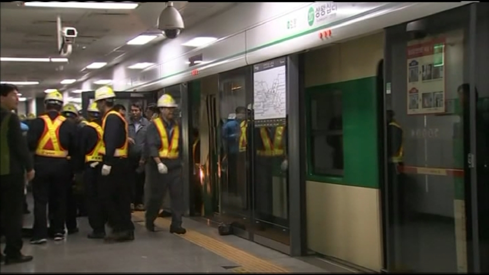 Subway trains collide in Seoul