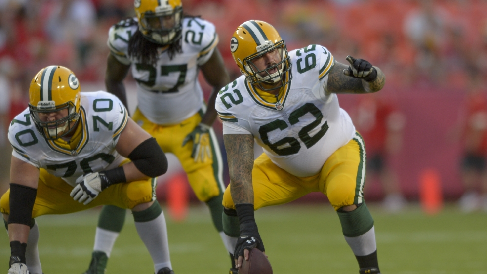 Green Bay Packers center Evan Dietrich-Smith during the first half of their game against the Kansas City Chiefs in Kansas City, Mo., Aug. 29, 2013. (AP Photo/Reed Hoffmann)