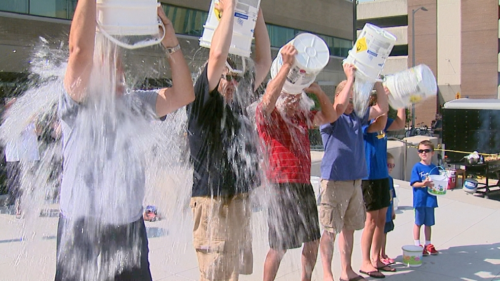 Appleton, De Pere, and Manitowoc mayors took part in the ice bucket challenge for ALS Aug. 16, 2014. (WLUK/Gabrielle Mays)