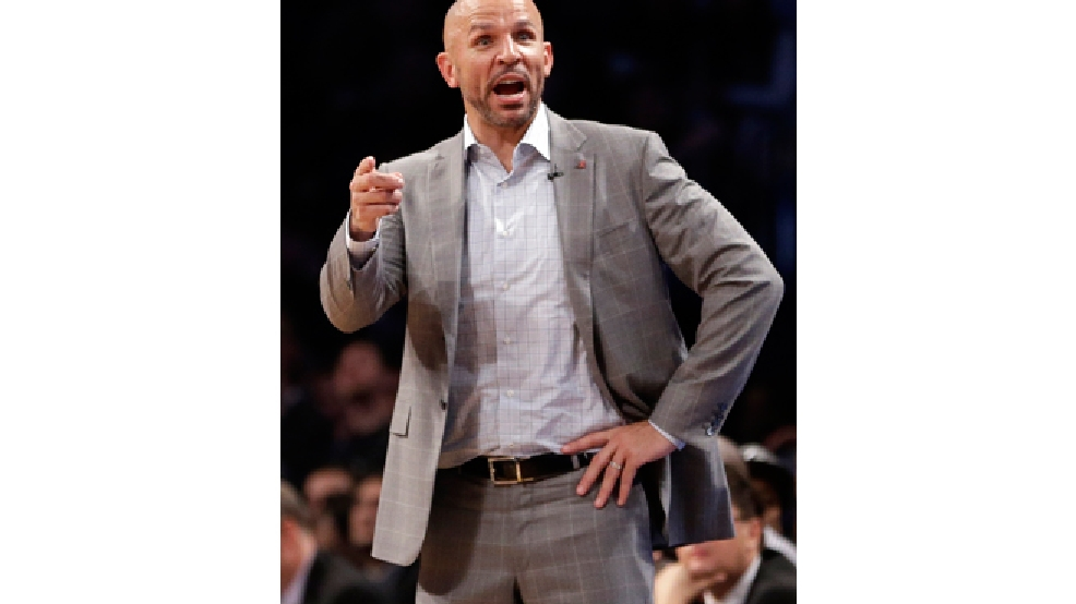In this Friday, April 25, 2014, file photo, Brooklyn Nets coach Jason Kidd gestures to his team during the second half of Game 3 of an NBA basketball first-round playoff series against the Toronto Raptors, in New York. (AP Photo/Frank Franklin II, File)