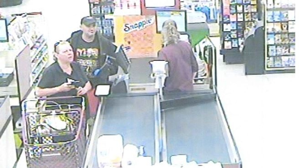 This is a surveillance image of the suspect with a female accomplice at Econo Foods in Sturgeon Bay. (Photo courtesy of Brown Co. Sheriff)