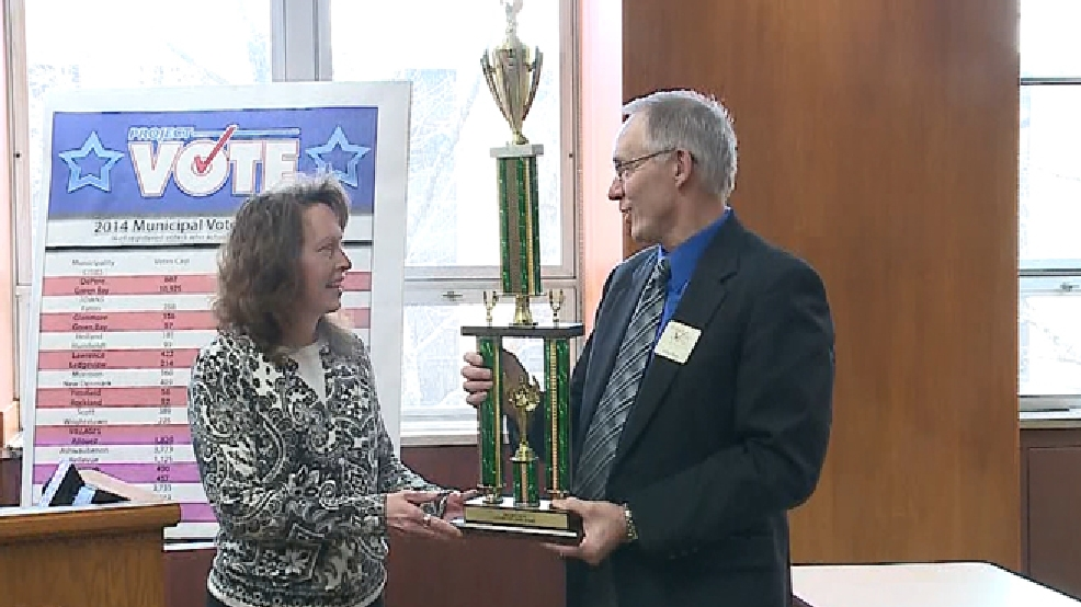 The village of Denmark was awarded Project VOTE's traveling trophy at Green Bay City Hall on Tuesday, April 8, 2014. (WLUK)