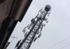 A view of FOX 11's Doppler radar tower amid falling snow. (WLUK/Scott Hurley)
