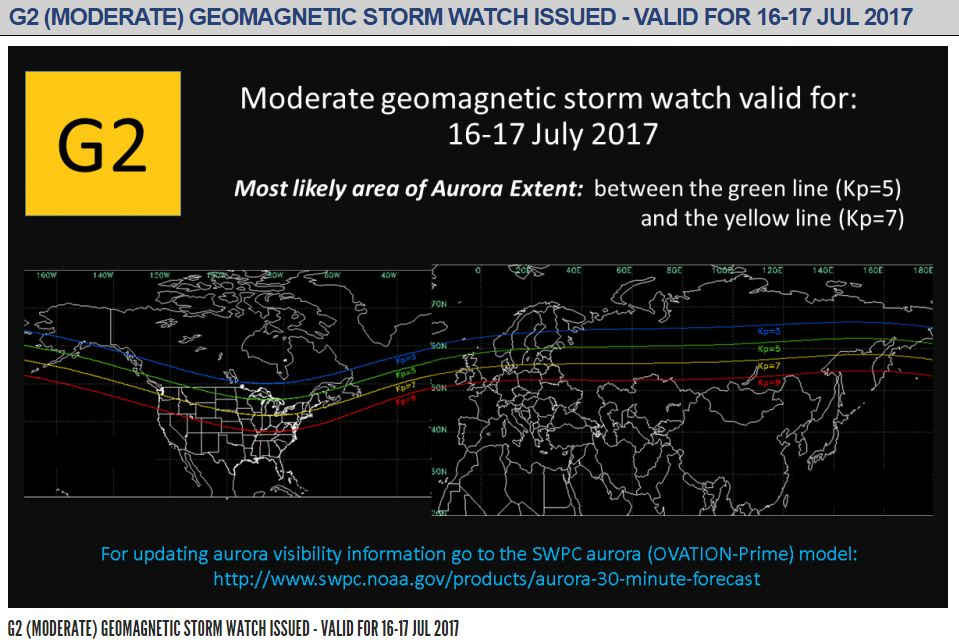 Geomagnetic storm watch issued.  (NOAA)