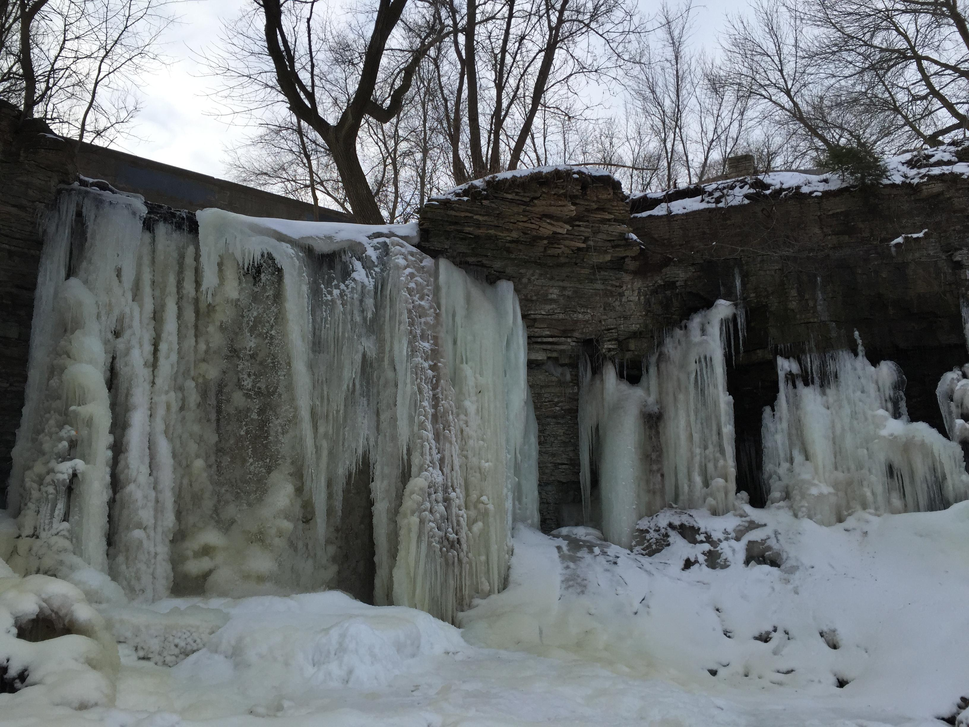 Frozen waterfalls make for a beautiful winter scene at Wequiock Falls County Park in the Town of Scott March 9, 2018. (WLUK/Katy Kramer)