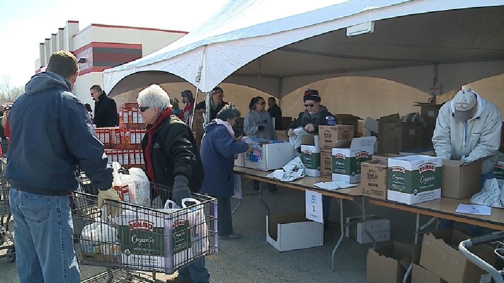 Feeding America Eastern Wisconsin brought its mobile food pantry to Appleton on Tuesday, April 15, 2014. (WLUK)