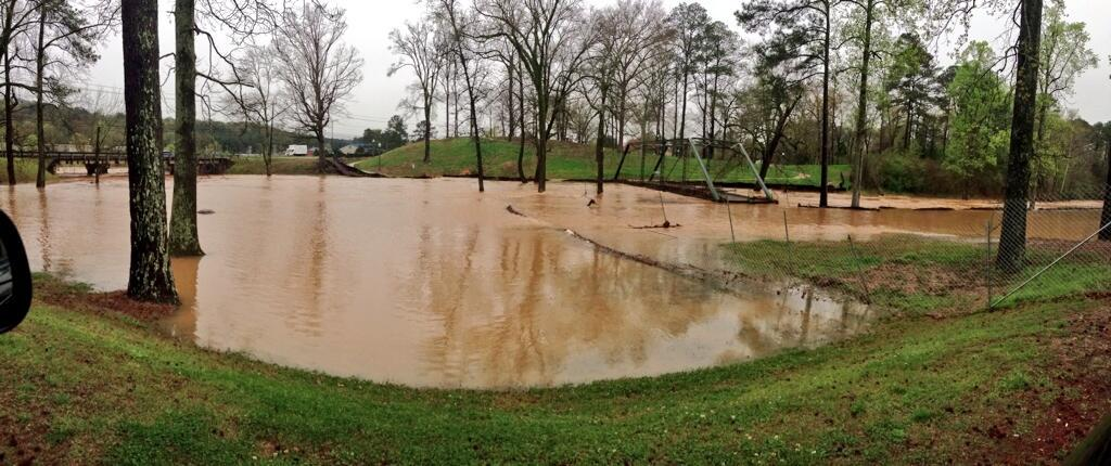 Flash flooding in Trussville, Ala., Monday, April 7, 2014.
