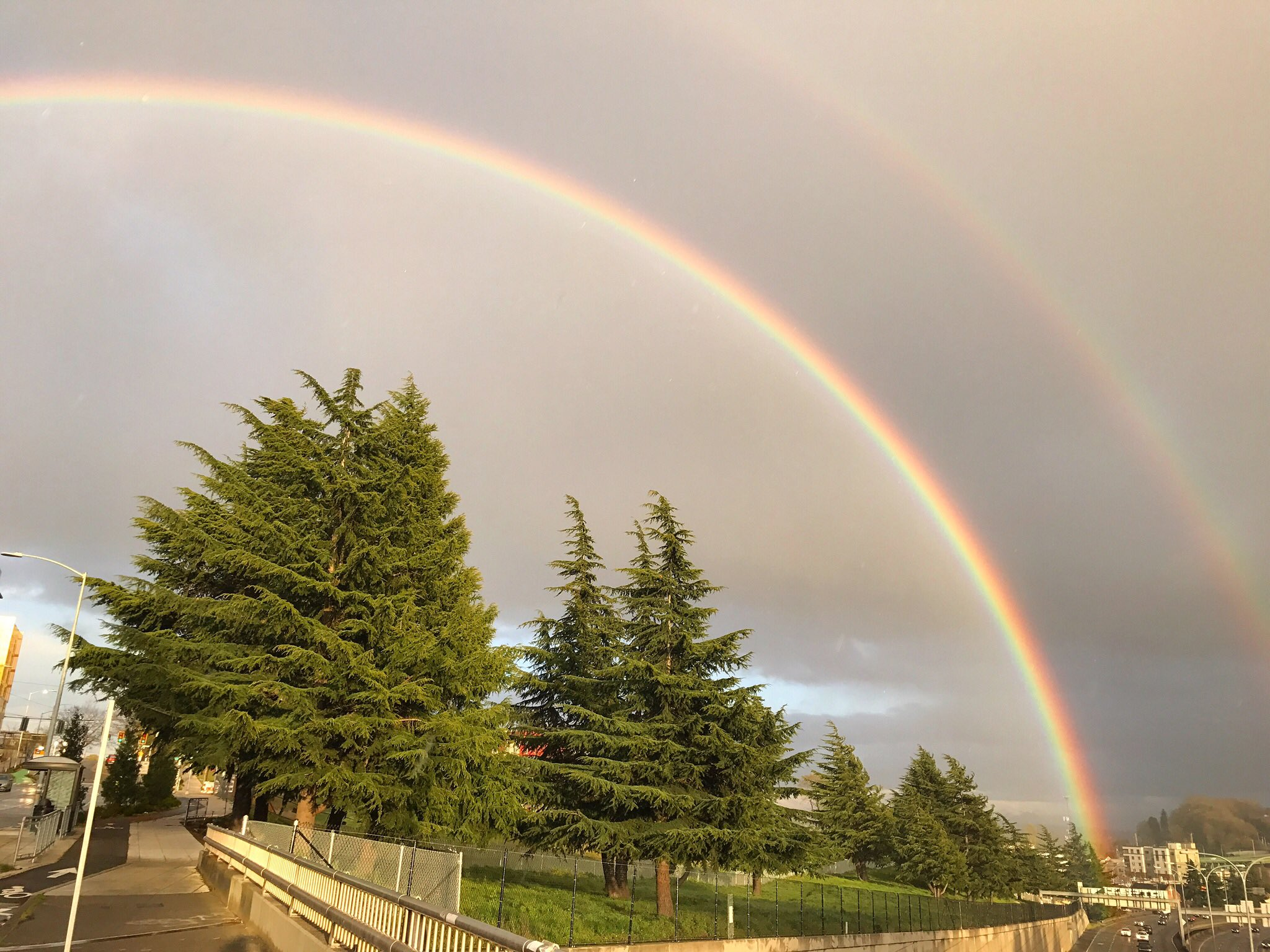 Two rainbows are seen in the sky in Seattle, Monday, April 10, 2017. (Photo: Liesbeth Robinson)