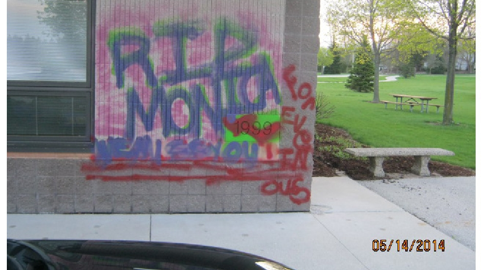 Graffiti on the side of the Community Center at Kiwanis Park in New Holstein, May 14, 2014. (New Holstein Police Dept.)