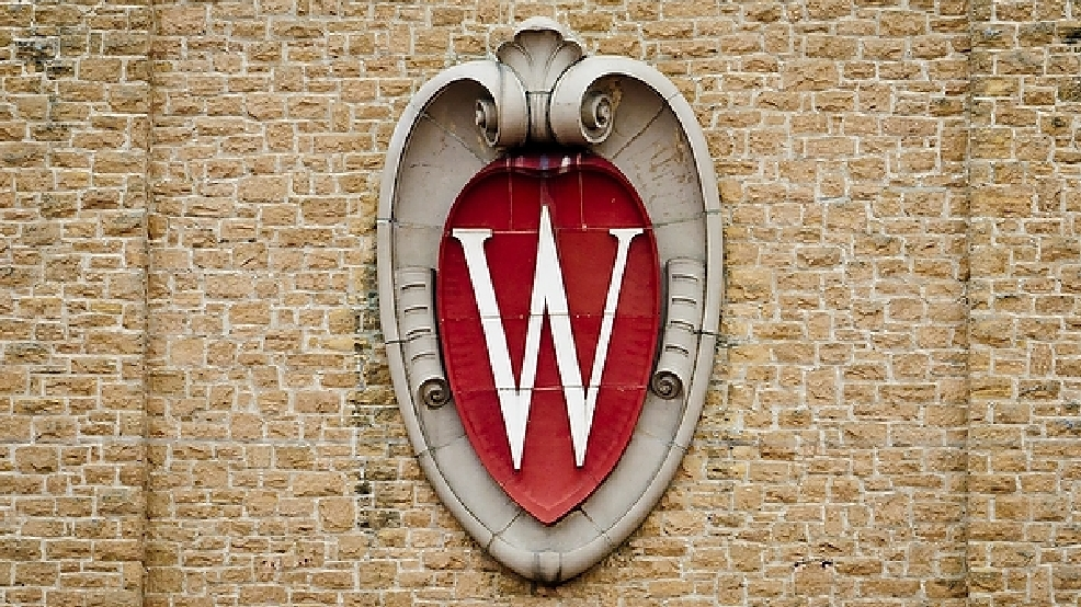 A W crest emblem is seen on the Field House from inside of Camp Randall Stadium at the University of Wisconsin-Madison on Oct. 6, 2012. (Photo by Bryce Richter / UW-Madison)