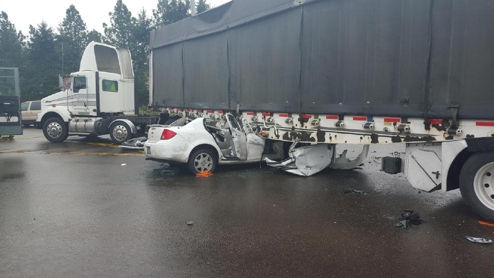 Driver seriously injured when car hits semi trailer | KMTR