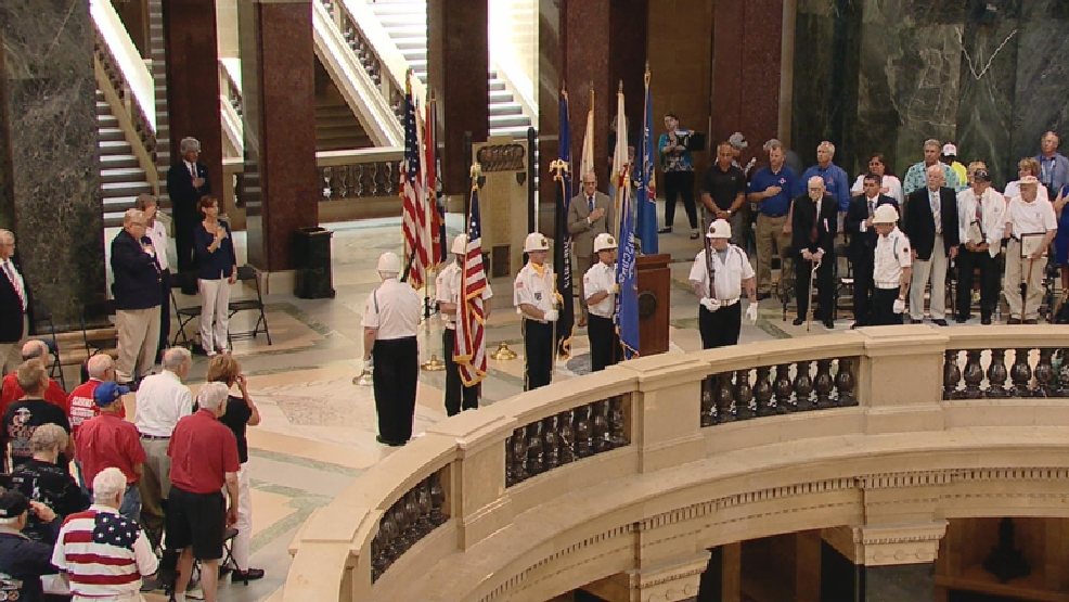 A D-Day ceremony was held at the Wisconsin state Capitol building in Madison on Friday, June 6, 2014.