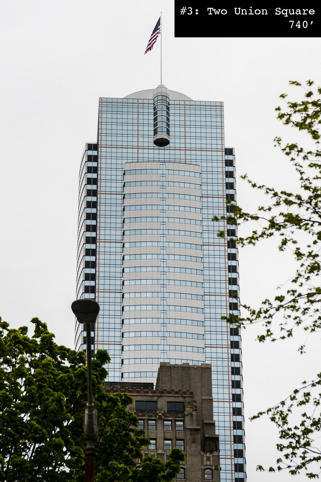 #3 Two Union Square: 740 feet tall, built in 1989. (Photo: Chona Kasinger / Seattle Refined)