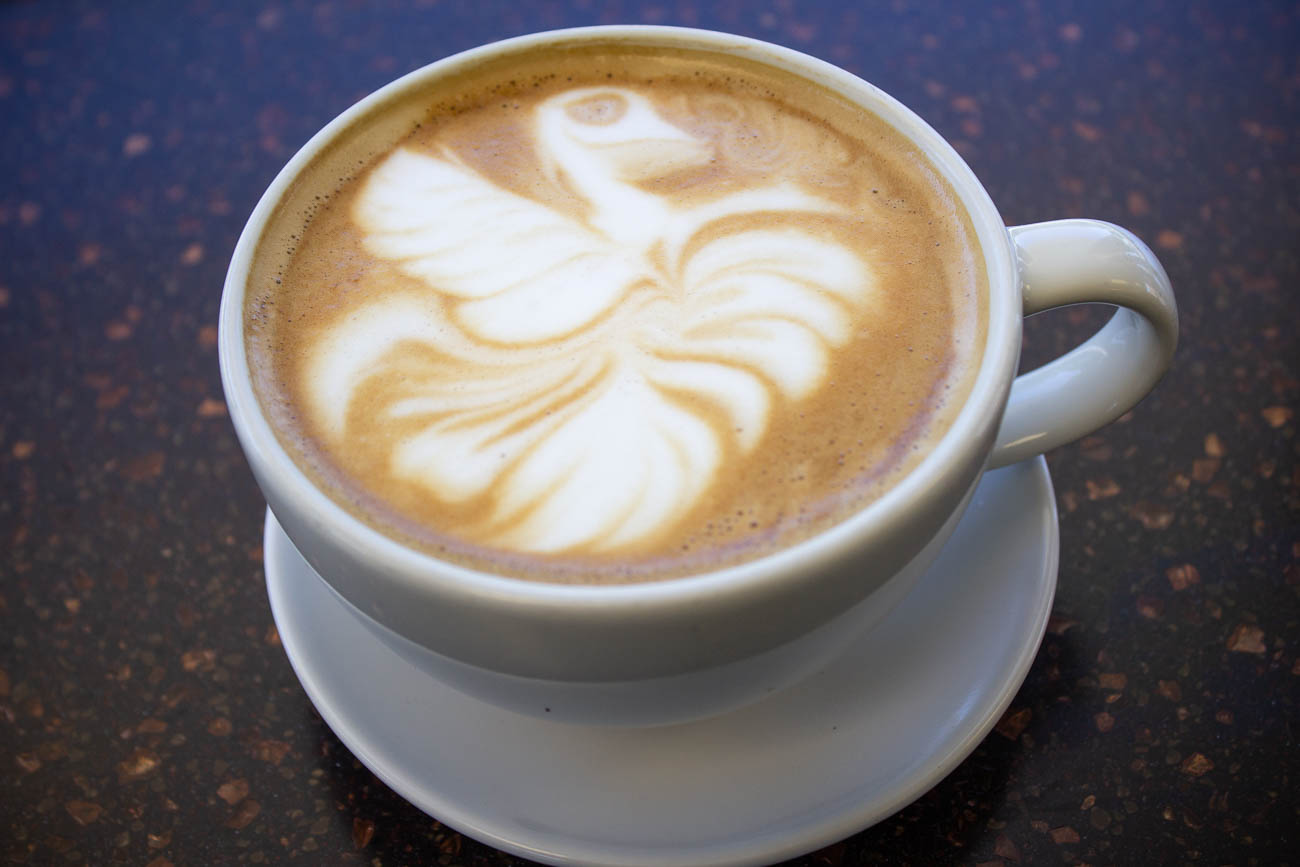 Latte with a decorative swan on top / Image: Katie Robinson, Cincinnati Refined // Published: 7.8.19