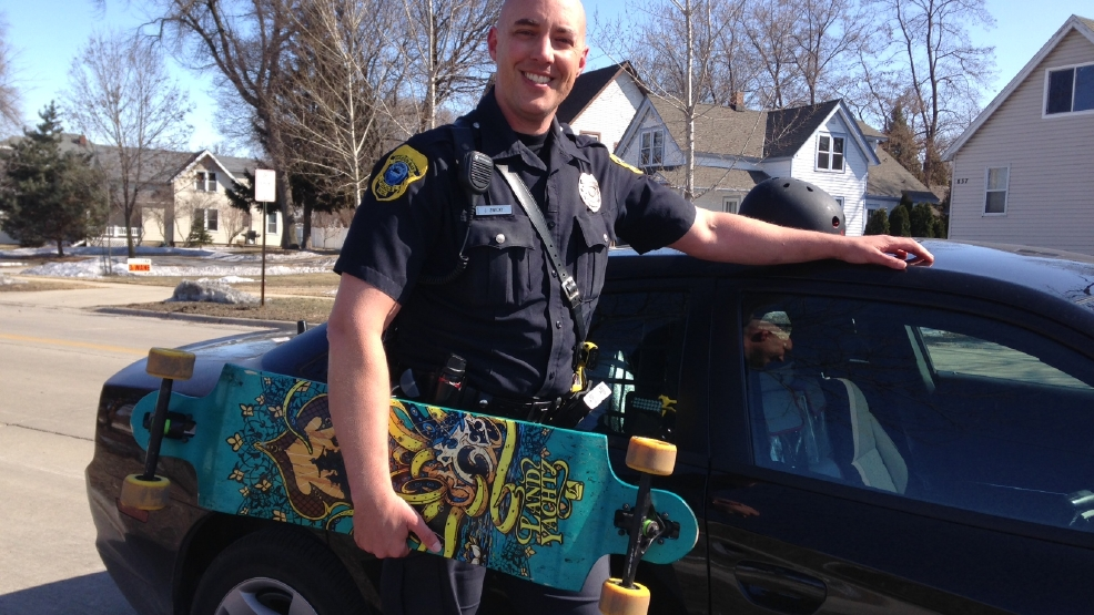 Green Bay police officer Joel Zwicky hopes to lift a skateboard ban.
