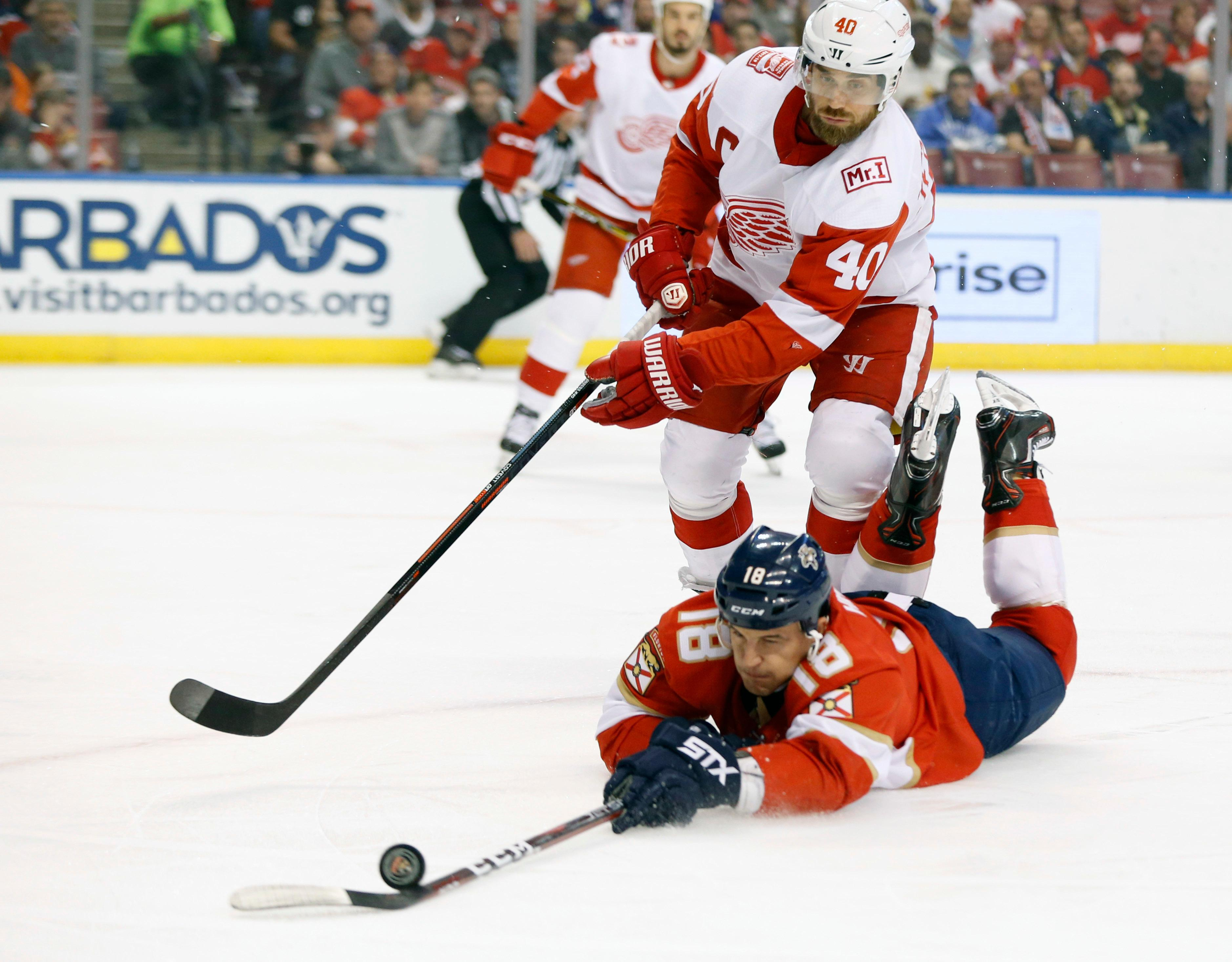 Florida Panthers center Micheal Haley (18) and Detroit Red Wings center Henrik Zetterberg (40) battle for the puck during the first period of an NHL hockey game, Saturday, Feb. 3, 2018 in Sunrise, Fla. (AP Photo/Wilfredo Lee)