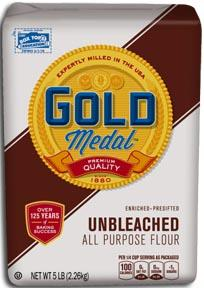 5 pound Gold Medal Unbleached Flour Package UPC 000-16000-19610 Recalled Better if Used by Dates 25MAY2017KC, 27MAY2017KC, 03JUN2017KC, 04JUN2017KC (Courtesy: General Mills)