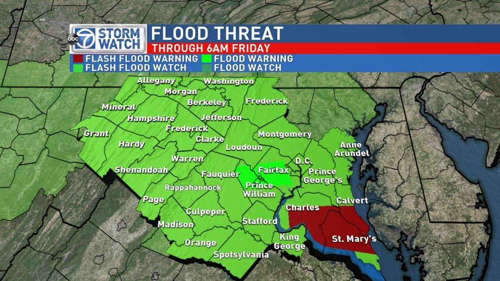 Flood threat continues for parts of the DC area