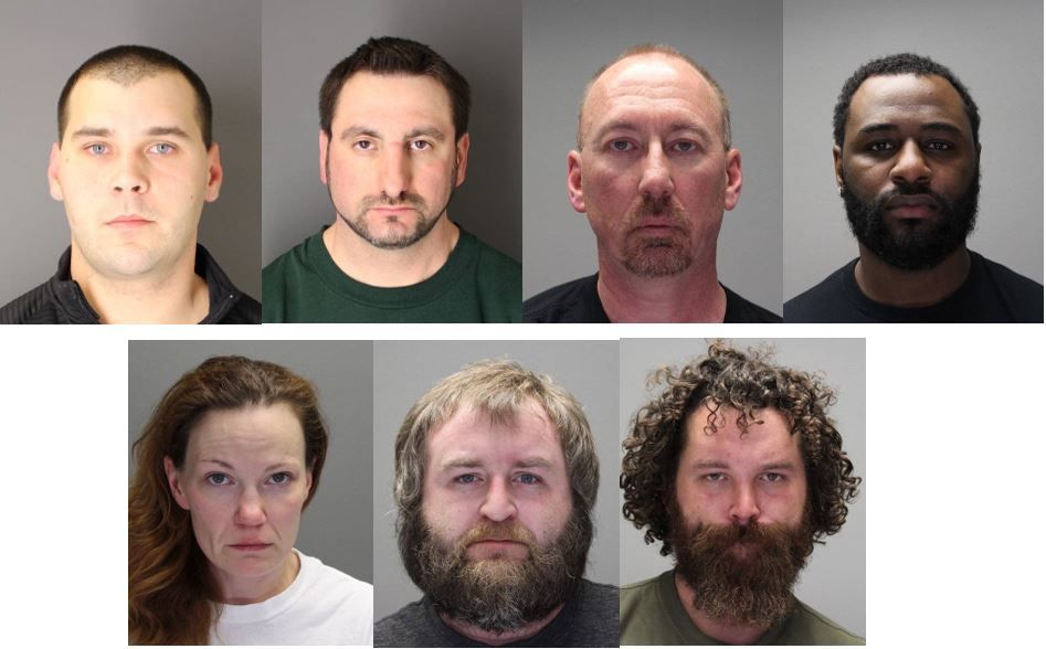 Seven people were arrested in a multi-jurisdictional prostitution operation last week in Canandaigua. (Photos: Canandaigua Police, Ontario County Sheriff's Office)